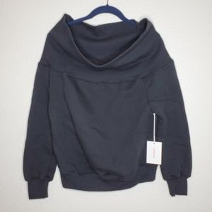 Good American Good Sweats Cold Shoulder Sweatshirt